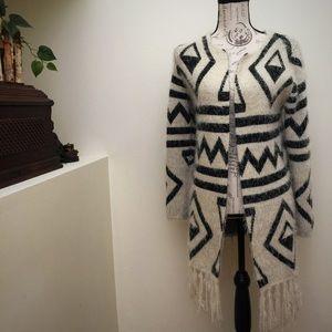 Eyelash Knit Fringe Tribal Pattern Sweater Coat